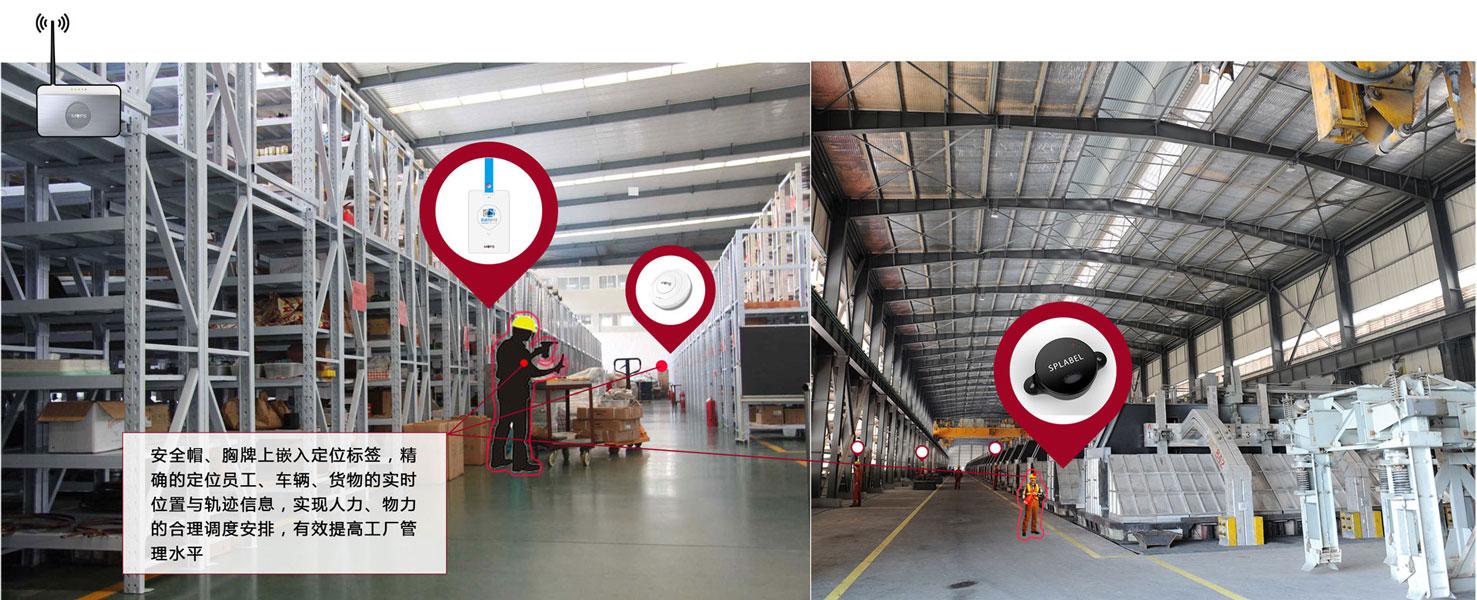 安全帽、胸牌上嵌入定位标签,精确的定位员工、车辆、货物的实时位置与轨迹信息,实现人力、物力的合理调度安排,有效提高工厂管理水平