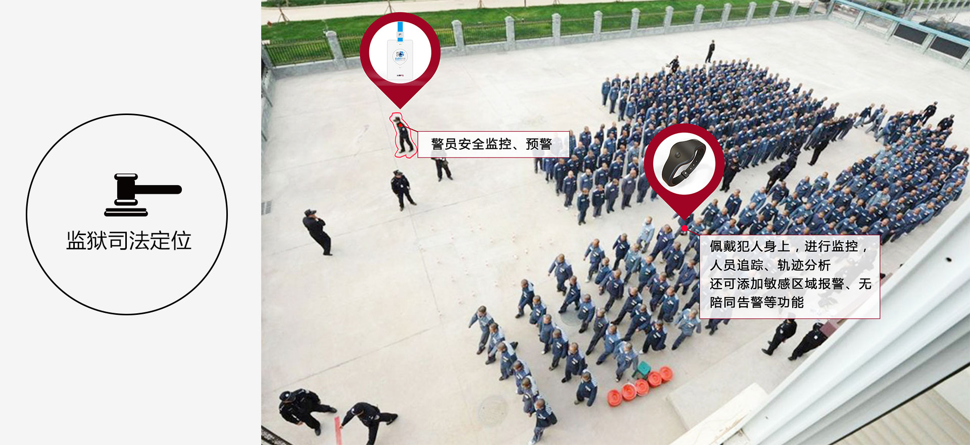监狱司法定位,警员安全监控、预警。佩戴犯人身上,进行监控,人员追踪、轨迹分析 还可添加敏感区域报警、无陪同告警等功能