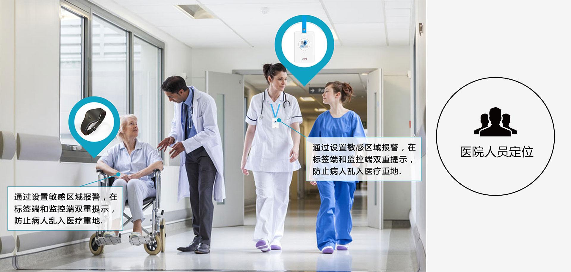 医院人员定位,通过设置敏感区域报警,在标签端和监控端双重提示,防止病人乱入医疗重地.在标签端和监控端双重提示,防止病人乱入医疗重地.